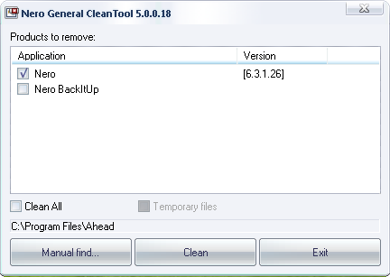 Uninstall nero software with Nero General Clean Tool